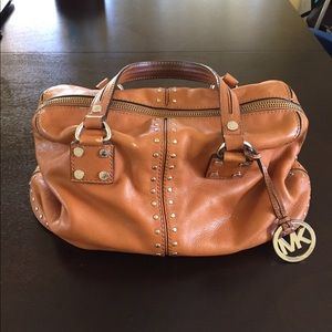 Michael Kors Tan Studded Leather Satchel #AQ-1201